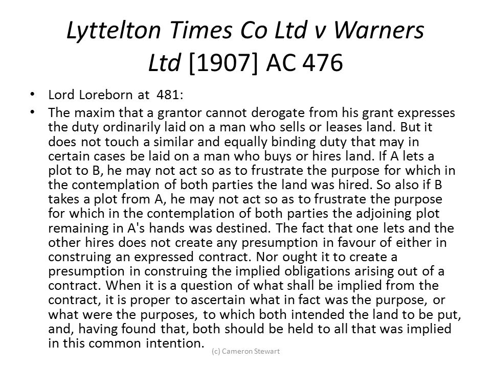 Lyttelton Times Co Ltd v Warners Ltd [1907] AC 476